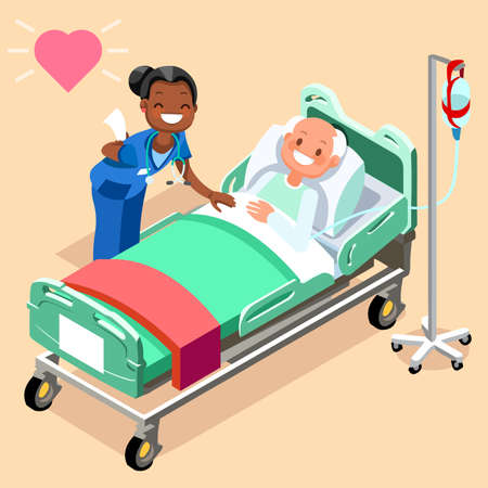Ilustración de Black nurse or family doctor at male patient bed 3D flat people emotions in isometric cartoon style medical icon vector illustration. - Imagen libre de derechos