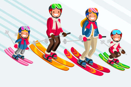 Illustration for Family as snow skiing people. Winter sports at kids holidays. Parents and children skiers enjoying snow landscape. Vector illustration in a flat style - Royalty Free Image
