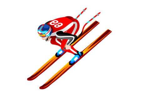 Illustration for Skiing downhill athlete winter sport man vector 3D isometric icon. - Royalty Free Image