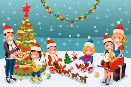 Illustration pour Winter kids at Christmas party night. - image libre de droit