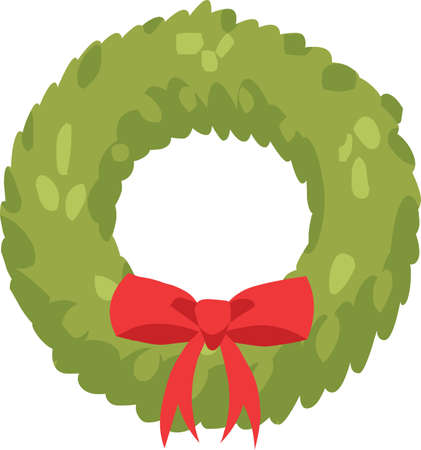 Illustration pour Christmas wreath sticker icon - image libre de droit