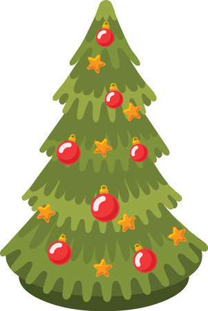 Illustration for Christmas tree sticker icon - Royalty Free Image