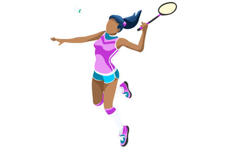 Ilustración de Badminton vector girl. Sports background with badminton athlete playing athletics competition. Isolated isometric people illustration. - Imagen libre de derechos