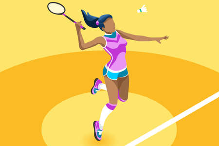 Ilustración de Badminton vector girl. Sport background with badminton athlete playing athletics competition. Isolated isometric people illustration. - Imagen libre de derechos