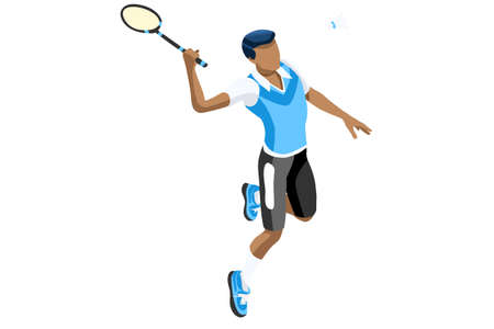 Ilustración de Badminton vector boy. Sports background with badminton athlete playing athletics competition. Isolated isometric people illustration. - Imagen libre de derechos