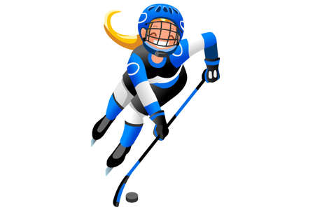 Ilustración de Ice hockey vector cartoon clipart. Winter sports background with hockey athlete playing winter olympics competition. 3D flat Isolated isometric people illustration. - Imagen libre de derechos