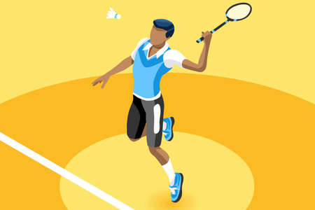 Ilustración de Badminton vector boy. Sport background with badminton athlete playing athletics competition. Isolated isometric people illustration. - Imagen libre de derechos