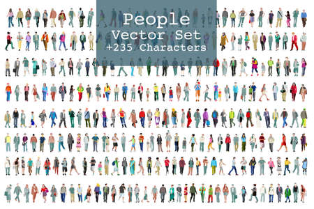 Ilustración de A Vector set of illustrated people. More than two hundred icons - Imagen libre de derechos