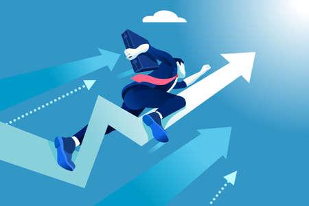 Illustration pour Hurry up concept. Business vector illustration. Flying businessman like a rising arrow. - image libre de droit