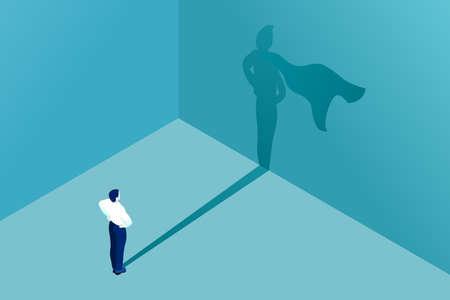 Ilustración de Businessman icon with superhero shadow vector concept for business illustration. Business symbol of leadership ambition success courage motivation and challenge. - Imagen libre de derechos