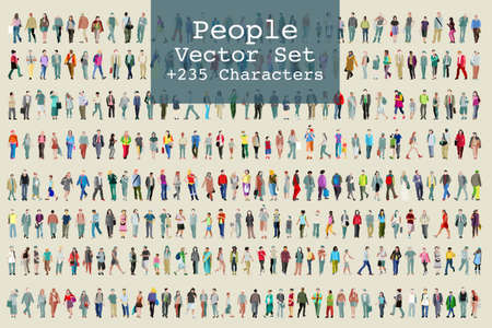 Ilustración de Vector set of illustrated people. More than two hundred icons - Imagen libre de derechos