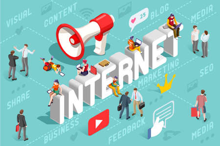 Ilustración de Advertising agency banner with internet marketing service concept. - Imagen libre de derechos