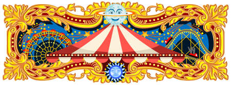 Illustration pour Carnival banner circus template. Circus vintage theme for kids birthday party invitation or post. Quality vector illustration. - image libre de droit