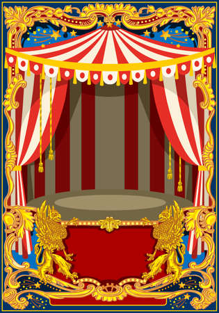 Illustration pour Carnival poster template. Circus vintage theme for kids birthday party invitation or post. Quality vector illustration. - image libre de droit