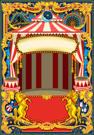 Illustration pour Circus poster theme. Vintage frame with circus tent for kids birthday party invitation or post. Quality template vector illustration. - image libre de droit