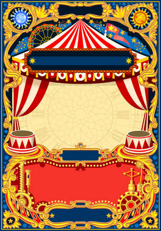 Illustration pour Circus editable frame. Vintage template with circus tent for kids birthday party invitation or post. Quality vector illustration. - image libre de droit