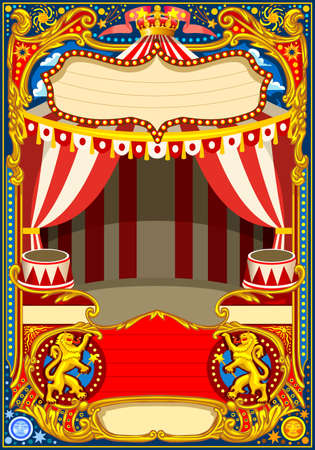 Illustration pour Circus cartoon poster theme. Vintage frame with circus tent for kids birthday party invitation or post. Quality template vector illustration. - image libre de droit