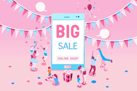 Ilustración de Phone sale offer concept for poster. Big Sale on mobile phone for online marketing with four young joyful people. Vector illustration design for website banner or poster. - Imagen libre de derechos