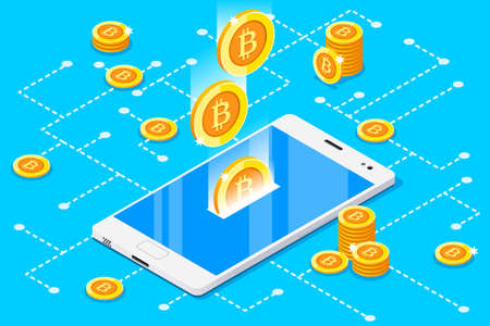 Illustrazione per Monetary business with bitcoin currency. Smartphone with gold rain of bitcoins. 3D vector design. - Immagini Royalty Free