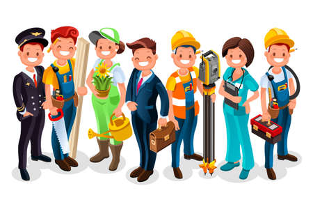 Illustration pour Different workmen and professional employers cartoon characters - image libre de droit