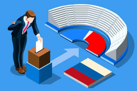 Illustration pour Russia election voting concept Russian man putting vote in the isometric ballot box. Vector illustration with 3D flat isometric realistic detailed people. - image libre de droit