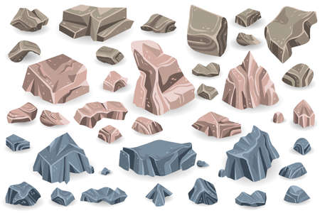 Illustration pour Stone rock vector rockstone of rocky mountain in Rockies mountainous cliff with stony geological materials and stoniness minerals illustration set isolated on white background - image libre de droit