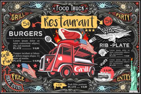 Illustration pour Food truck menu with logo. Hipster advertise layout. Us vector design. - image libre de droit