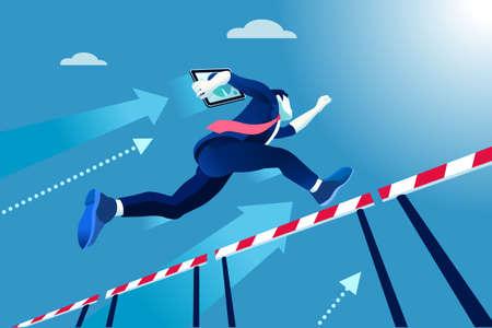 Ilustración de Business man jumping over obstacles, a manager race concept. - Imagen libre de derechos