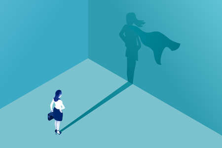 Ilustración de Businesswoman with superhero shadow vector concept. Business symbol of emancipation ambition success motivation leadership courage and challenge. - Imagen libre de derechos