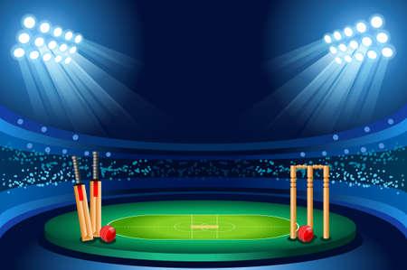 Illustration for Cricket stadium background. Hitting recreation equipment. Vector design. - Royalty Free Image