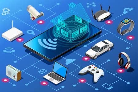 Ilustración de Mobile device as home energy control panel. Efficiency abstract concept isometric infographic illustration vector design. - Imagen libre de derechos