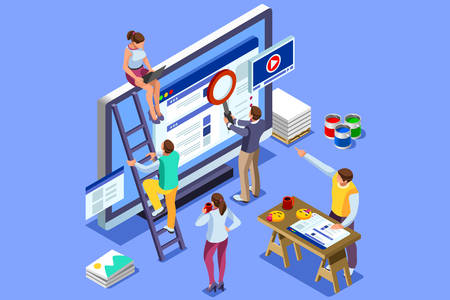 Ilustración de Isometric people images to create seo illustrations. Can use for web banner, infographics, hero images. Flat isometric vector illustration isolated on blue background. - Imagen libre de derechos