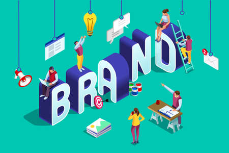 Ilustración de Brand vector text with employers working on branding design. Flat Isometric people illustration isolated on blue background. Can use for web banner, infographics, hero images. - Imagen libre de derechos