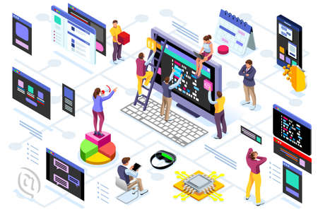 Illustrazione per Programming software interface on device by engineers. Application for company project. A space of professional solutions for systems and softwares. Conceptual illustration. Isometric people vector. - Immagini Royalty Free