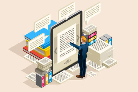 Illustration for Textbook, publish paper for online access on electronic notebook or read object. Can use as clipart or sticker for web banner, infographics, hero images. Flat isometric vector illustration. - Royalty Free Image