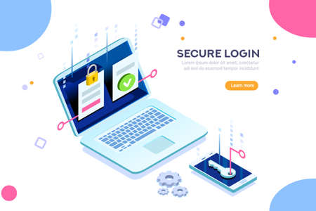 Ilustración de Smartphone safe certificate, two identity authentication concept. Verify permission request. Used for web banner or infographic images. Flat isometric vector illustration isolated on white background. - Imagen libre de derechos