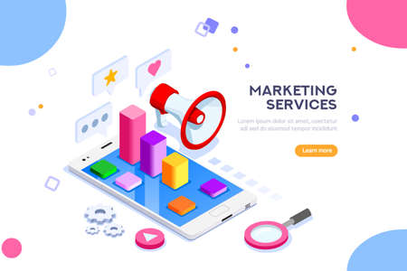 Ilustración de Agency and digital marketing concept. Social media for web. Can use for web banner, infographics, hero images. Flat isometric vector illustration isolated on white background. - Imagen libre de derechos