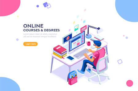 Ilustración de Student character study at computer. Web guy and network, man reading for graduation. Can use for web banner, infographics, hero images. Flat isometric vector illustration isolated on white background - Imagen libre de derechos
