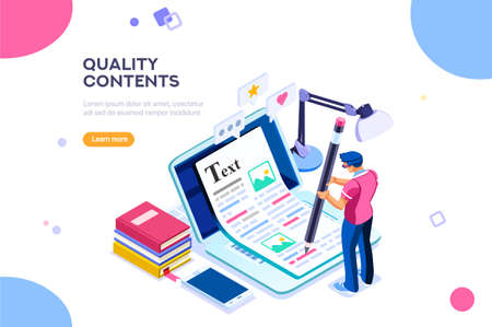 Ilustración de Seo infographic, content for creative blog post. Blogger character. Can use for web banner, infographics, hero images. Flat isometric character, vector illustration isolated on white background. - Imagen libre de derechos