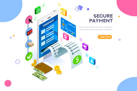 Illustration pour Online payment. Internet payments, protection of money in cellphone transactions. Can use for web banner, infographics, hero images. Flat isometric vector illustration isolated on white background. - image libre de droit