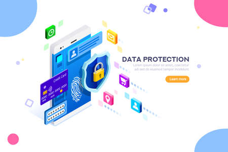 Ilustración de Cyber security authentication, access by encryption to the network or computer. Can use for web banner, infographics, hero images. Flat isometric vector illustration isolated on white background. - Imagen libre de derechos