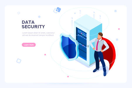 Illustrazione per Secure hard data base. Security and anti-virus protection. Center or datacenter network. Industry of telecommunication. Hosting net or database concept. Flat isometric images, vector illustration. - Immagini Royalty Free