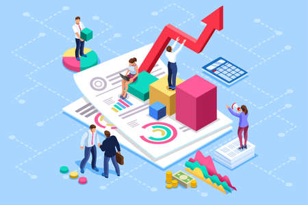 Illustration pour Financial administration concept. Consulting, characters at consultant meeting or auditing concept. Audit, business statement concept. Statistic plan images. Flat isometric infographics for banner. - image libre de droit