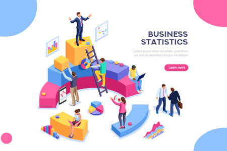 Illustration pour Financial administration concept. Consulting for company performance, analysis concept. Statistics and business statement. Flat isometric infographics for banner or business hero images. - image libre de droit