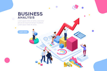 Ilustración de Balance financial value, management and administration concept. Characters, people engineering a plan. Statistic, calculating financial risk graph. Flat Isometric characters vector illustration. - Imagen libre de derechos