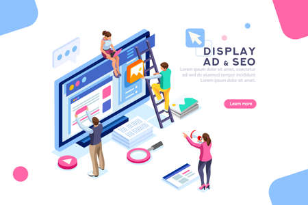 Illustration pour Coding people team work together. Seo optimization for target searching process. Pay click social content development tool. Flat Isometric characters vector illustration. Display campaign. - image libre de droit