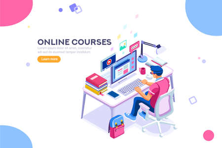 Illustration pour Student character studying and thinking sitting at desk and writing university exam. College infographics with teaching man with isometric school homework reading a test. Flat Isometric illustration. - image libre de droit