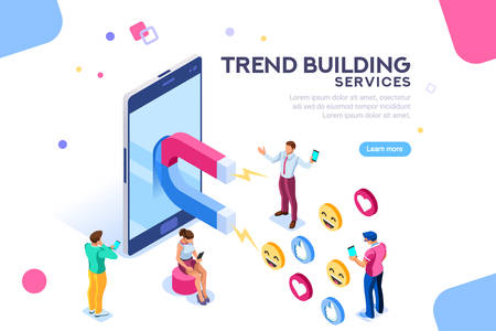 Ilustración de Social media concept with characters. Followers follow social trend, people talking and share a chat, tag or post comment online. Characters isometric flat illustration isolated on white background. - Imagen libre de derechos