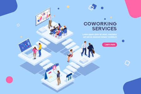 Illustration pour Coworkers office concept with characters. Freelancer concept, coworking people, ceo business workspace for creative businesswoman. Standing employee space for businessmen. Flat Isometric illustration. - image libre de droit