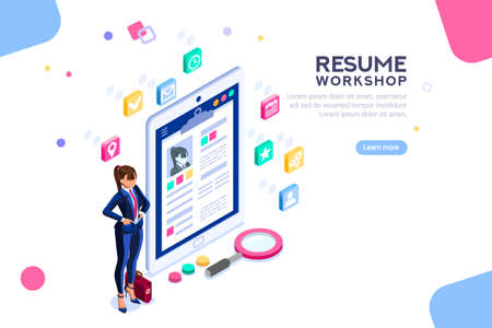 Illustration pour Web page, banner for resume resources. Employer, customer, boss recruit. Businesswoman isometric human resources, hr job presentation for occupation choose. Flat Isometric concept with characters. - image libre de droit